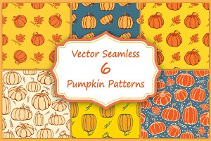 Set of hand drawn autumn pumpkins