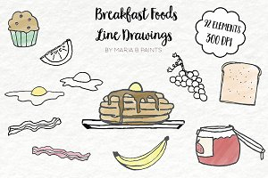 Clip Art, Line Drawings, Breakfast
