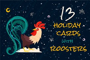 13 holiday cards with roosters