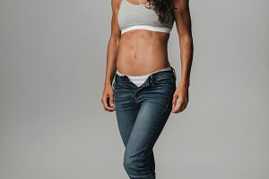 Woman in jeans and halter