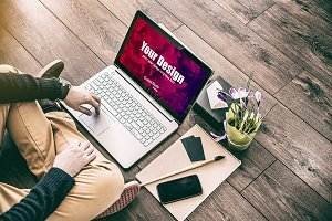 Man with Laptop PSD Mockup