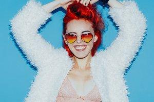 Stylish red hair, glamorous