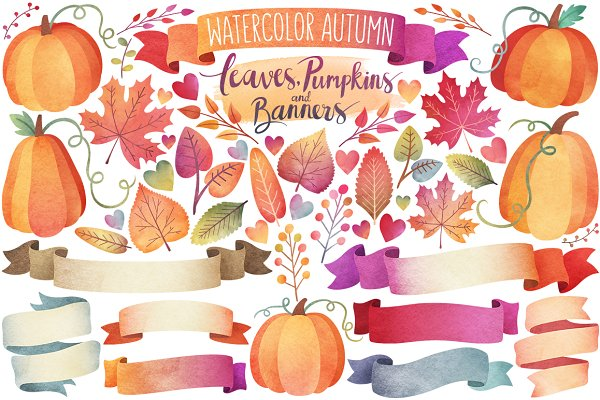 Watercolor Autumn Leaves & Banners