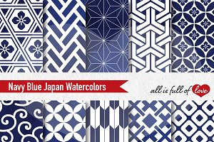 Navy Blue Patterns Watercolor Paper