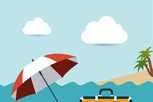 Summer beach with umbrella.