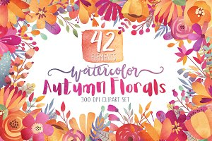 Watercolor Autumn Florals Clipart