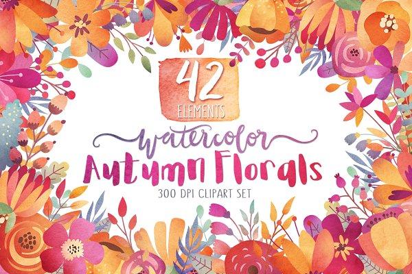 Watercolor Autumn Florals Clipart