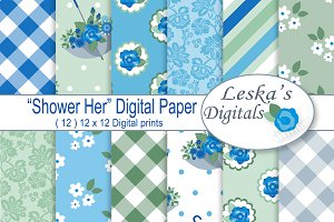 Blue Floral Digital Paper Pack
