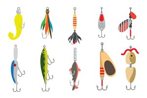 Fish lure with hook flat icons