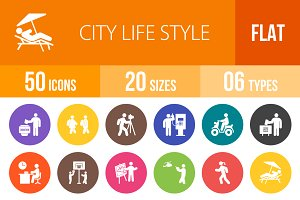 50 City Lifestyle Flat Round Icons