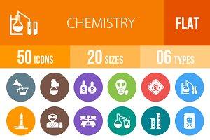 50 Chemistry Flat Round Icons