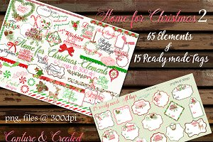 Home For Christmas  Tags & Elements