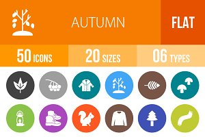 50 Autumn Flat Round Icons