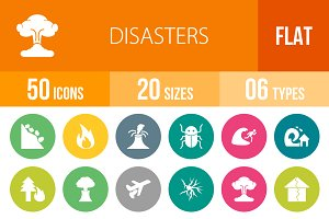 50 Disasters Flat Round Icons