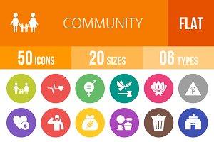 50 Community Flat Round Icons