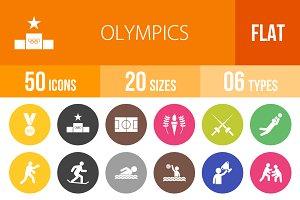 50 Olympics Flat Round Icons