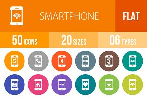 50 Smartphone Flat Round Icons