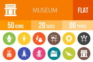 50 Museum Flat Round Icons