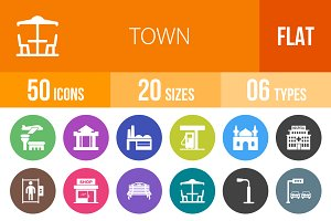 50 Town Flat Round Icons