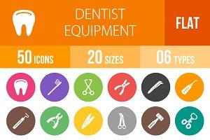 50 Dentist Flat Round Icons