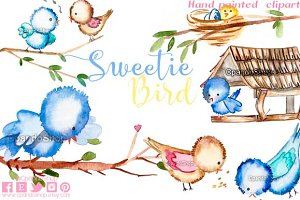 Sweetie bird watercolor clip art