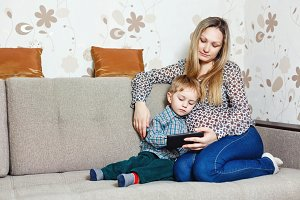 Mom and son with a tablet PC