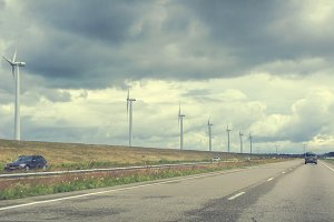 Road with windturbines