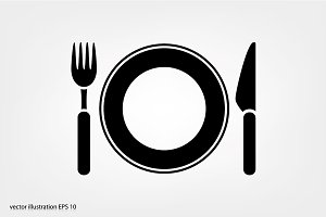 Fork, knife and plate icon