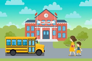 School building and schoolcild