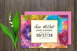 Save the Date Colorful Flower