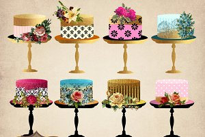 Floral Cakes Clipart