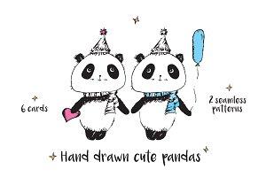 Hand drawn cute pandas