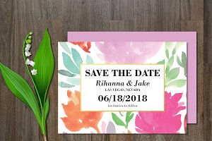 Save the Date watercolor flower