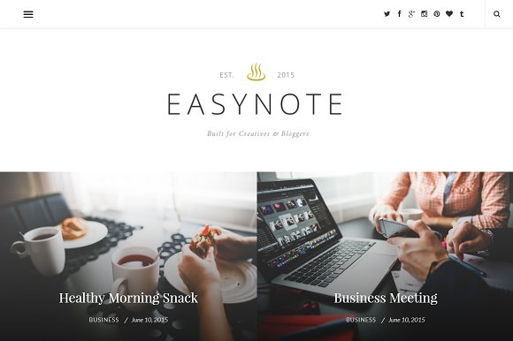easynote wordpress theme wordpress blog themes creative market