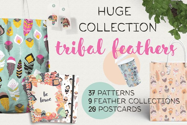 37 feather patterns, 20 postcards