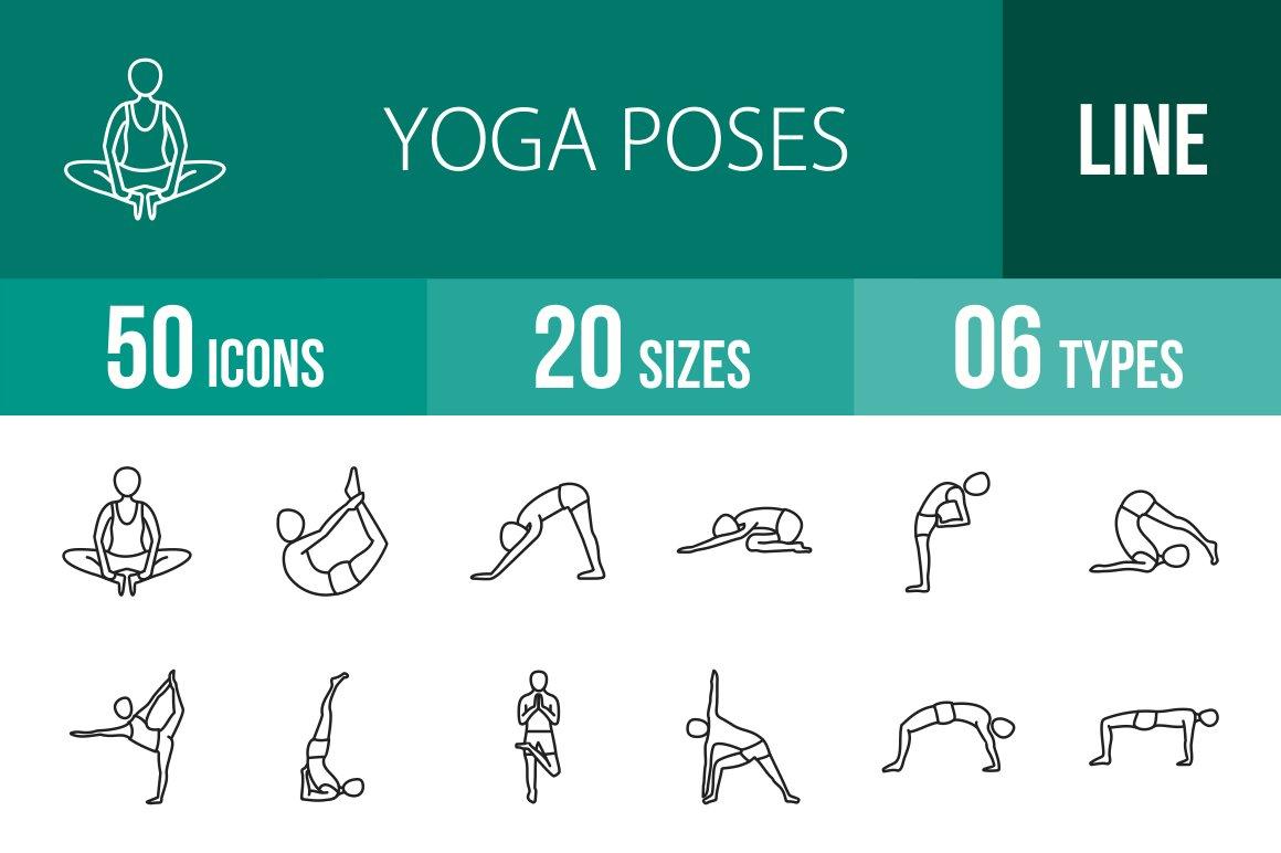 50 Yoga Poses Line Icons Creative Market