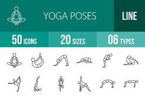 50 Yoga Poses Line Icons