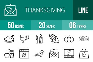 50 Thanksgiving Line Icons