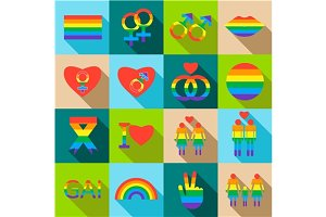 Homosexual icons set, flat style