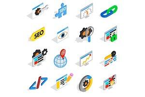SEO icons set, isometric 3d style
