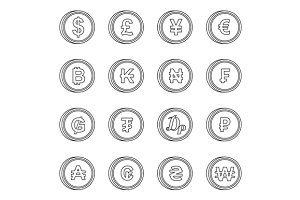 Currency icons set