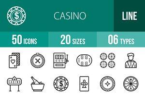 50 Casino Line Icons