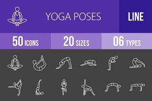 50 Yoga Poses Line Inverted Icons