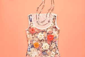 Fashion Design Stylish Outfit.Top view. Minimal
