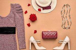 Fashion Set. Top view. Stylish Autumn Outfit.Retro