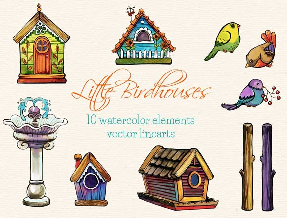 Little Birdhouses - clip arts
