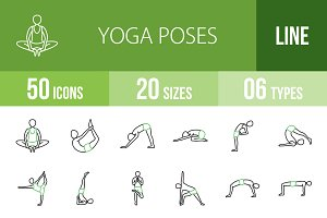 50 Yoga Line Green & Black Icons