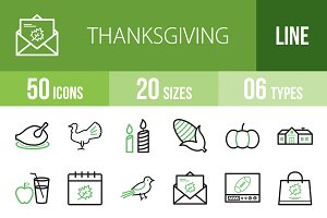 50 Thanksgiving Line Green Icons