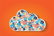 Cloud concept with media icons