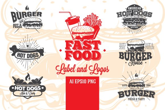 Fast Food Label and Logos
